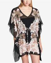 Calvin Klein Black Lily Printed Drawstring Caftan Cover-Up Women's Swimsuit
