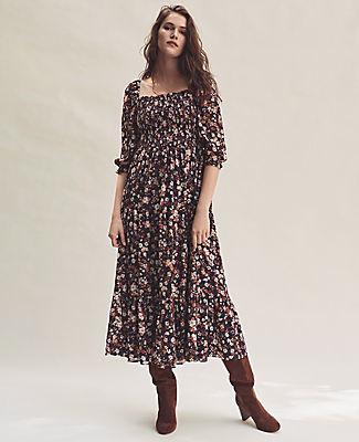 Ann Taylor Floral Smocked Maxi Dress