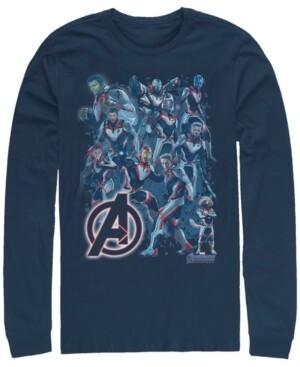Marvel Men's Avengers Endgame Glowing Logo Group Poster, Long Sleeve T-shirt