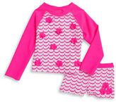 Flapdoodles Girls 2-6x Little Girls Scalloped Print Swimsuit Set