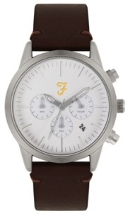 Farah Men's the Chrono Collection Brown Leather Strap Watch 42mm