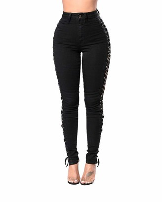 Guocu Sexy Women Ripped Side Cut Out Jeans Stretchy Skinny High Waist Lace up Slim Fit Black Comfy Pants Black L