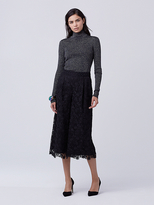 Diane von Furstenberg Tess Metallic Knit Turtleneck Sweater