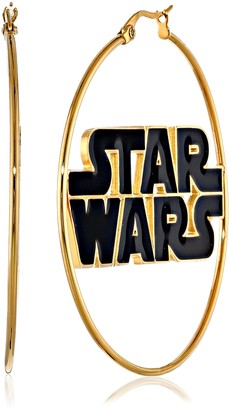 Star Wars Jewelry Logo Stainless Steel Gold IP 50mm Hoop Earrings (SALES1SWMD)