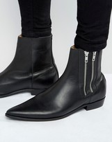 Religion Pistol Double Zip Leather Boots