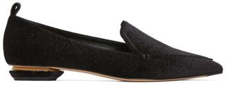 Nicholas Kirkwood Black Glitter Beya Loafers