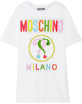 Moschino Printed Stretch Cotton-blend Jersey Mini Dress - White