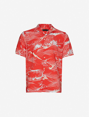 AllSaints Flood graphic-print relaxed-fit crepe shirt