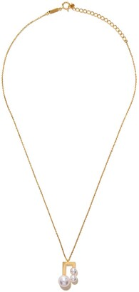 TASAKI 18kt yellow gold Balance Note Collection Line Akoya pearl pendant necklace