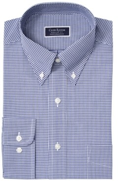 Club Room Men's Classic/Regular Fit Stretch Mini Gingham Dress Shirt, Created for Macy's