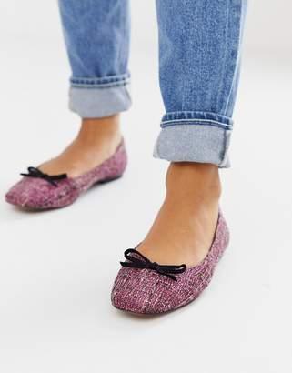 Asos Design DESIGN Last square toe ballet flats in pink tweed-Multi