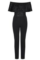 Quiz Black Glitter Bardot Frill Jumpsuit