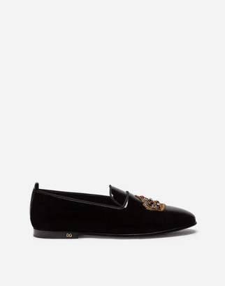 Dolce & Gabbana Patent Leather Slippers With Crown Embroidery