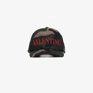 Valentino Khaki Camouflage Logo Baseball Cap