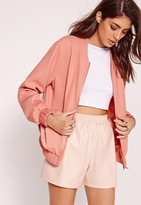 Missguided Satin Two Tone Bomber Jacket Pink
