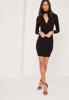 Missguided Choker Neck Cowl Bodycon Dress Black