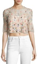 Needle & Thread Starburst Embellished Crop Top, Petal Pink