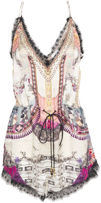 Camilla Lace-trimmed Printed Silk Crepe De Chine Playsuit