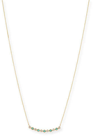 Sydney Evan Turquoise & Diamond Bezel Bar Necklace