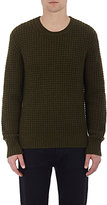 Vince Men's Waffle-Stitched Sweater-DARK GREEN