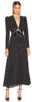 Alessandra Rich Polka Dot Tie Front Midi Dress in Black | FWRD