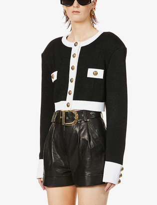 Balmain Button-embellished knitted jacket