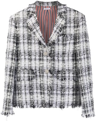 Thom Browne Unconstructed Oversized Classic SB S/C w/ Fray In Chenille Yarn Ribbon Tweed