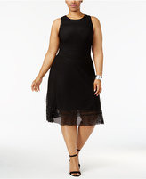 Alfani Plus Size Mesh-Overlay Fit & Flare Dress, Only at Macy's
