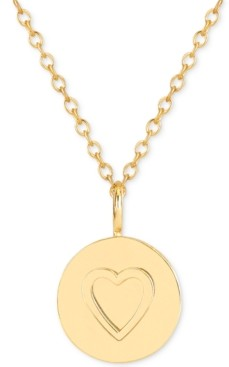Sarah Chloe Raised Heart Medallion Adjustable Pendant Necklace in 14k Gold-Plated Sterling Silver