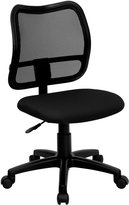Flash Furniture Mid-Back Mesh Task Chair with Cutout Seat Upholstery / Style: Black Fabric / Armless