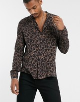 Allsaints AllSaints long sleeve shirt with leopard print in brown