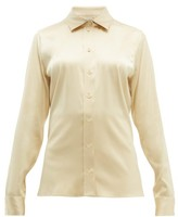 Bottega Veneta Point-collar Silk-blend Charmeuse Shirt - Womens - Cream