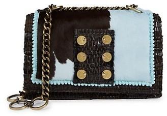 Kooreloo Celeste Calf Hair-Trim Leather Crossbody Bag