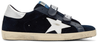 Golden Goose Navy and White Corduroy Old School Superstar Sneakers