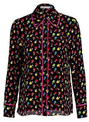 Alice + Olivia Women's Alfie Multicolor-Print Silk Chiffon Shirt