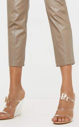 PrettyLittleThing Nude Clear Wedge Tube Strappy Sandal