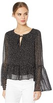 Cupcakes And Cashmere Mandy Night Sky Lurex Striped Chiffon Peasant Top (Black) Women's Blouse