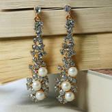 Crystal Pearl Rabal Drop Earrings