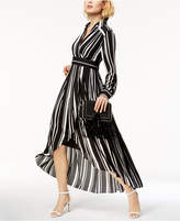 INC International Concepts I.n.c. Striped Faux-Wrap High-Low Maxi Dress, Created for Macy's
