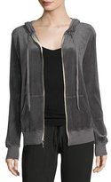 Allen Allen Hooded Zip-Front Velvet Jacket