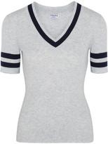Frame Striped Ribbed Cotton And Wool-blend Sweater - Light gray