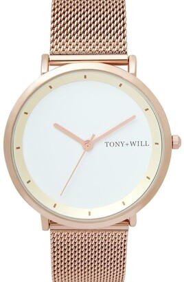 TONY+WILL Lunar Mesh White/Rose Gold TWM005E Watch