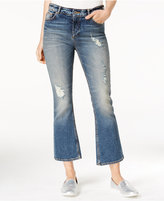 Armani Exchange Ripped Cropped Flared Medium Blue Wash Jeans