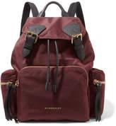 Burberry Leather-trimmed Gabardine Backpack - Burgundy