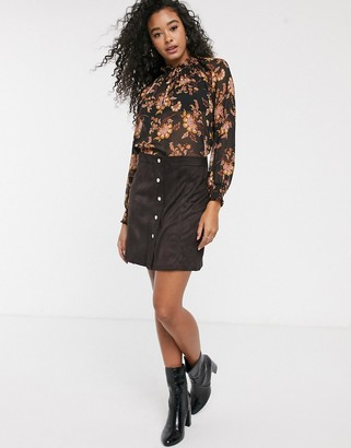 Pimkie faux suede mini skirt in chocolate