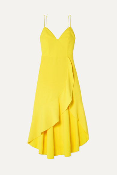 Alice + Olivia Alice Olivia - Cobi Wrap-effect Crepe Midi Dress - Yellow