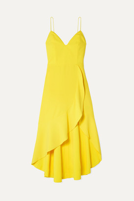 Alice + Olivia Alice Olivia - Cobi Wrap-effect Crepe Midi Dress - Yellow