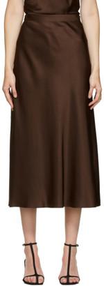 Rosetta Getty Brown Satin Bias Skirt