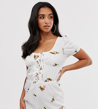 Asos DESIGN Petite beach playsuit with plunge lace up detail & milkmaid sleeves in floral print