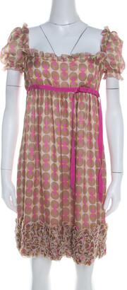 Dolce & Gabbana Pink Polka Dot Print Silk Babydoll Dress M